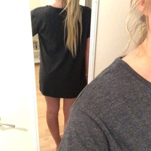 Zara Dresses - Gray T-shirt dress with lace up detail Like New